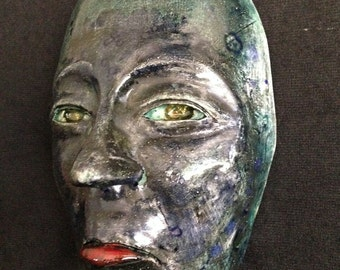 Glazed blue cristals green Ceramic Wall Mask Sculpture, One Of A Kind Clay Face