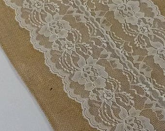 """Sedona Designz Burlap & Lace Table Runner, 12"""" W X 108"""" L, Ivory Lace - Free Domestic Shipping"""