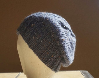 Stocking cap, watch cap, slouch hat, beanie, tweed steel blue with orange and white nubs. Hand knit stocking cap, beanie, skull cap