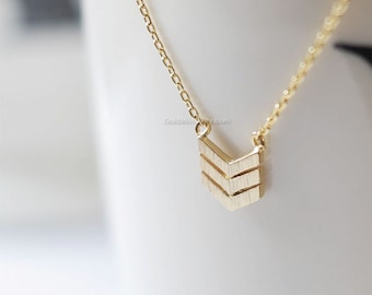 Gold Triple Chevron Necklace, Gold tribal chevron necklace, Tribal necklace, necklace for women, Dainty Simple Layering Minimalist Necklace