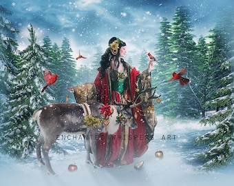 Holiday Christmas Goddess art print