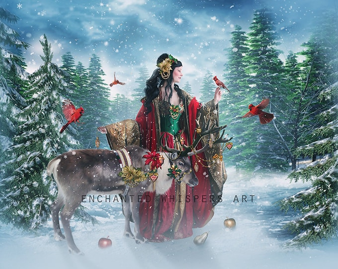 Holiday Christmas Goddess art print