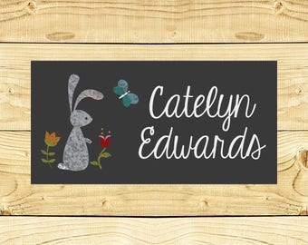 40 Waterproof Baby Bottle Labels - Dishwasher Safe - Sippy Cup Labels - Daycare School Name Labels - Forrest 003 - Rabbit
