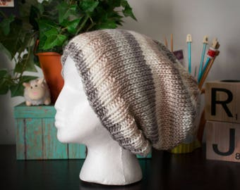 Knit Slouch Hat - Neutral Stripes