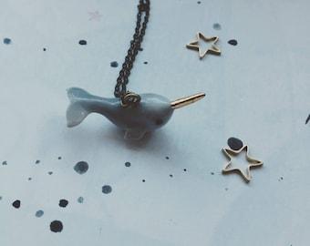 Narwhal necklace super cute ceramic