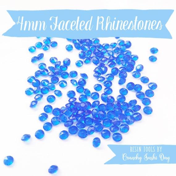 200 PCS- 4mm Blue Clear Acrylic Diamond Rhinestones, Rhinestone, Acrylic Rhinestones, Loose Rhinestones, Diamond Confetti, Confetti