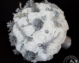 Winter wedding bouquet, winter wonderland wedding bouquet, large bridal bouquet with roses, silver glitter accents and pine cones, keepsake