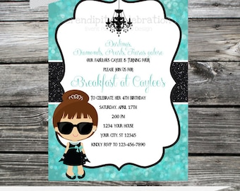 12 Printed Invitations By Serendipity Celebrations - Chic and Fabulous -Breakfast at.. Birthday -Baby Shower -Bridal Shower-Printing Service