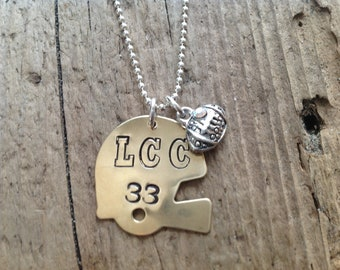 Football Mom/Girlfriend Helmet Sports Necklace Football Jewelry
