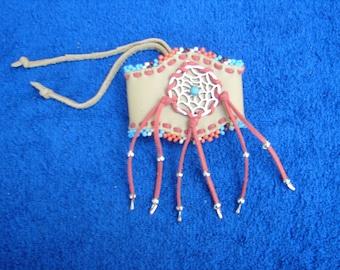 Leather Beaded Cuff Bracelet  Native American  Dreamcatcher Fringed wristband