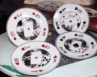 Vintage (c.1990) 4-card suit decorative plate. Made by Deco Art CTG. Choice of Diamonds, Hearts, Clubs or Spades.