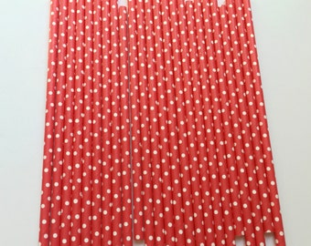 RED & WHITE POLKA Dot Straws / Red Straws / Party Straws / Paper Straws / Valentine's Day Straws / Party Supplies / Polka Dot Paper Straws