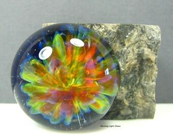 Rainbow Half Dome Lampwork Glass Cabochon - Jewelry Making Supply