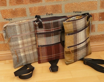 Messenger Bag, Cross Body Bag, Ipad Case, Zip Top Pouch Bag, Earthy coloured Bag collection, Brown Tweed bag