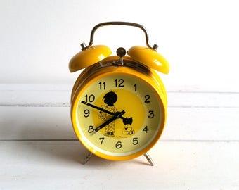 Old Dutch bright yellow alarm clock 'Jip and Janneke'