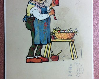 Antique Old Europe Easter postcard postage stamp 1912 Humanized Dressed Bunny Hare in glasses Rabbit painter paints Red Easter egg