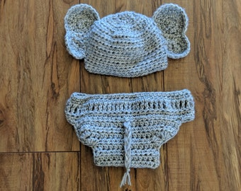 Crocheted elephant costume, 0-3 month, photo prop