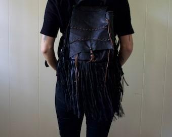 Handmade + Bohemian Leather Fringe Backpack