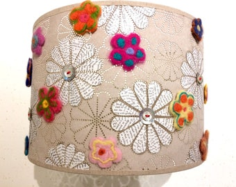Upcycled flower, paper and button lampshade