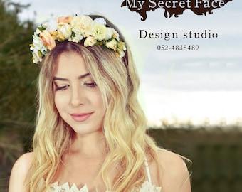 flowers crown, fabric flowers head tiara, bridal crown, birthday crown, flowers wreath, FLOWERS HAIR PIECE
