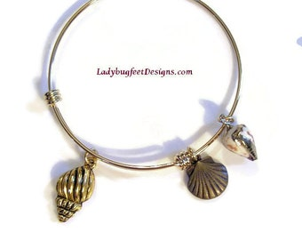 Beach 1 - GOLD PLATED Adjustable Bangle, Expandable and Stackable, One size fits most!