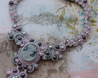 Soutache Necklace, Pink & Grey Cameo Bib Necklace, Valentine's Day Necklace, Boho Soutache Necklace, Choker Soutache Necklace, Gift for Her