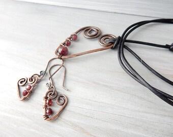 Heart Necklace. Heart Earrings. Garnet Jewelry. Garnet Earrings. Garnet Necklace. Heart Pendant. Jewelry Set Gift. Handmade Copper Jewelry