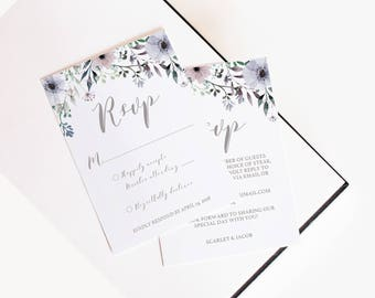 Lilac Wedding Rsvp Card Template Purple Rsvp Cards Wedding Response Cards Instant Download Purple Flowers Printable Wedding Stationary SG1