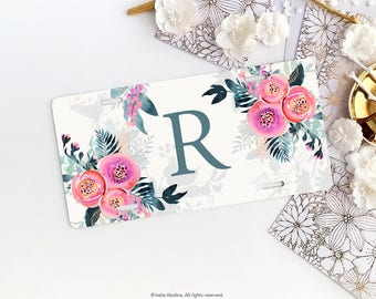 Personalized Car License Plate Monogrammed License Plate Frame Floral Car Plate Frame Individualized Car License Plate Frame Set 25.