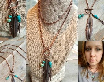 Red Copper Feather Necklace, Turquoise Necklace, Long Boho Feather Necklace, Copper Feather Turquoise Necklace, Feather Toggle Necklace