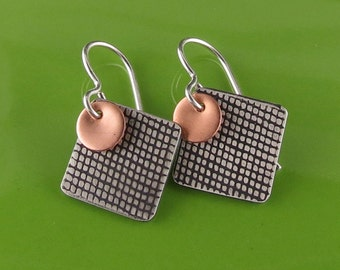 Mixed Metal Silver Copper Textured Square Geometric Earrings