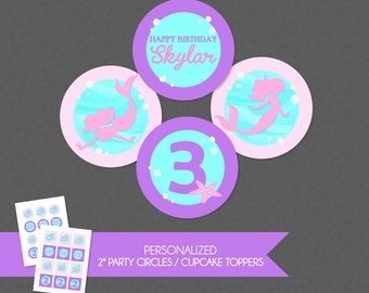 Sweet Mermaid Silhouette 2'' Cupcake Toppers / Birthday Party Circles