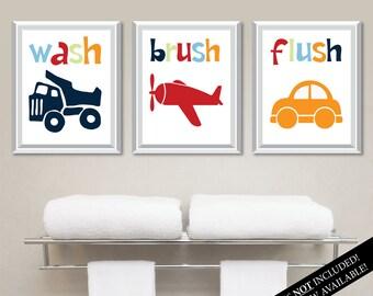 Transportation Bathroom Art Prints. Kids Bathroom Art. Kids Bathroom Decor. Kids Bathroom Wall Art. Home Decor Wall.  Bathroom Art. NS-809