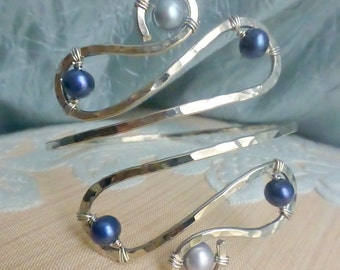 Silver Upper Arm Cuff, Armlet - Silver and Dark Blue or CUSTOM CREATED - Great for Homecoming!