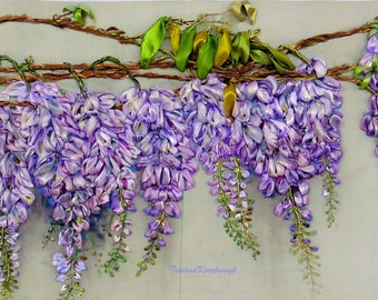 Wisteria blooming Silk ribbon embroidery picture  ribbon work ribbon flowers wall handing art embroidered picture for framing ribbon flowers