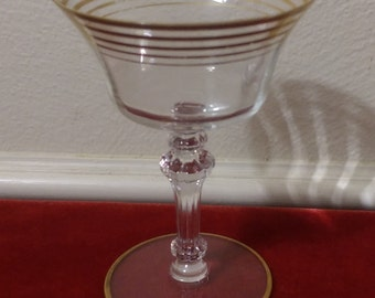 Vintage Saucer Glass with Gold Colored Rim