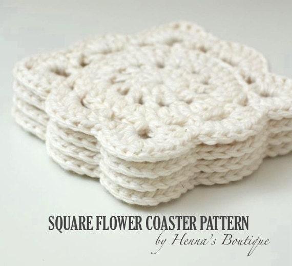 Crochet Coaster Pattern Square Flower Coasters Pdf