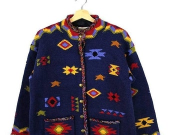 Winter Sale 40% Off Vintage Hand knitted Tribal/Navajo Symbol pattern Wool Sweater Cardigan from 90's*
