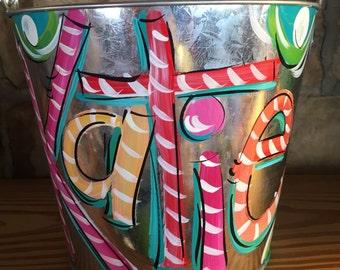 Bucket, Painted Bucket for Girls, Galvanized Silver Pail, Dakri Sinclair