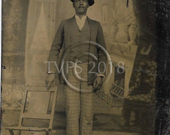 Black Americana Tintype photograph African American Man Standing
