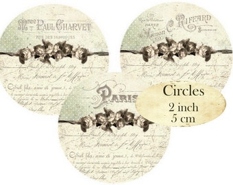 French Shabby Chic Circles 2 inch Vintage Instant Download digital collage sheet C286 France