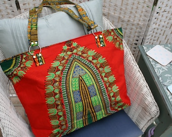 Tote Bag (Large) - Zipped Top - Traditional African Kitenge Fabric - Orange Green