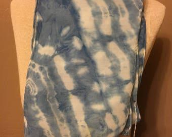 Indigo shibori silk/wool scarf