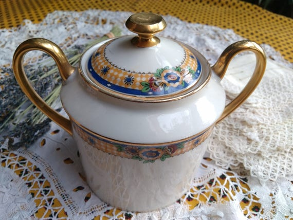 Art Deco Porcelain Sugar Bowl 1920's Gilded French Jean Boyer Limoges Sun Flower and Gigham Decor Double Handles Marks #sophieladydeparis