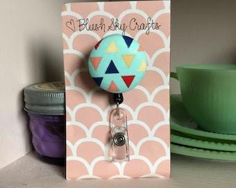 ID Badge Reel, Badge Reel, ID Badge Holder, Retractable Badge Reel, Badge Reels, Triangles ID Badge Reel, Triangles, Trendy, Nurse Gift