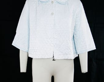 Vintage 1950's Liz Barbizon Quilted Bed Jacket - Short Sleeve - Baby Blue - Peter Pan Collar - Lingerie -  Medium / Large  - Ready to Wear
