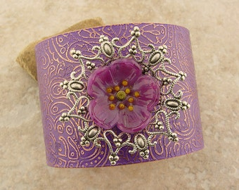 Embellished and Etched Copper Cuff Bracelet, Orchid Paisley with Glass Plumeria, 2""