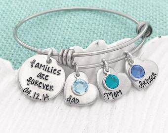 """Customizable Bangle - """"Families are Forever [personalized date]"""" with Names and Swarovski Birthstones for Grandma, Mom, Auntie, etc LDS"""