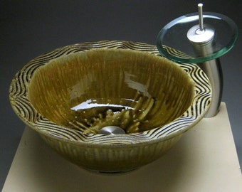 Handmade Sculpted Ceramic Vessel Sink or Drop-in Sink with Carved Design For Your Bathroom Remodeling Project ...Made To Order