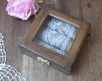 Wedding Ring Box Wooden Ring Bearer, Ring Holder Personalized Engraved Ring Pillow, Wedding Ring Pillow Bearer Ring Box Alternative